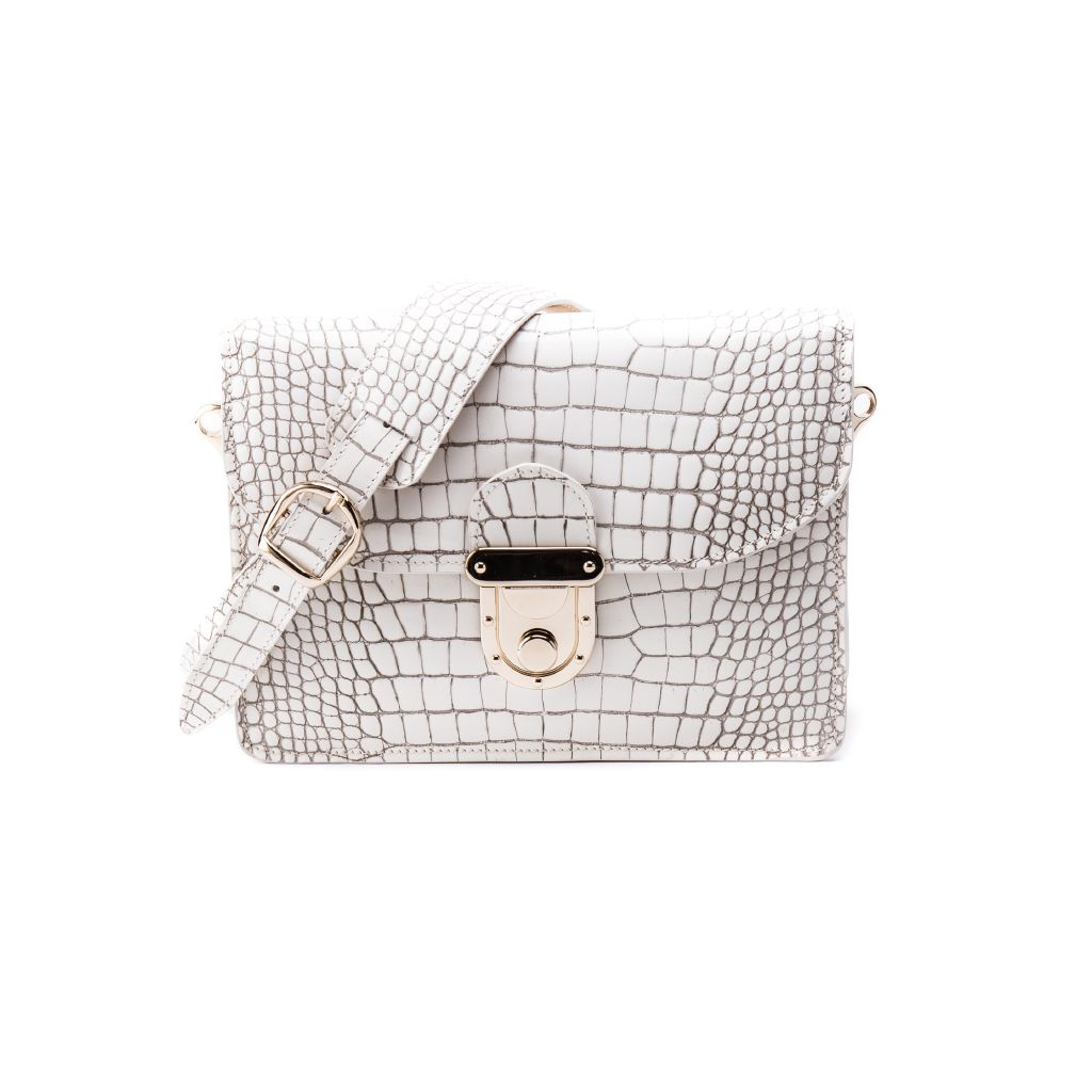 resized_Angelina Cross Body Bag in Dirty White Crocodile Print_AED 4000