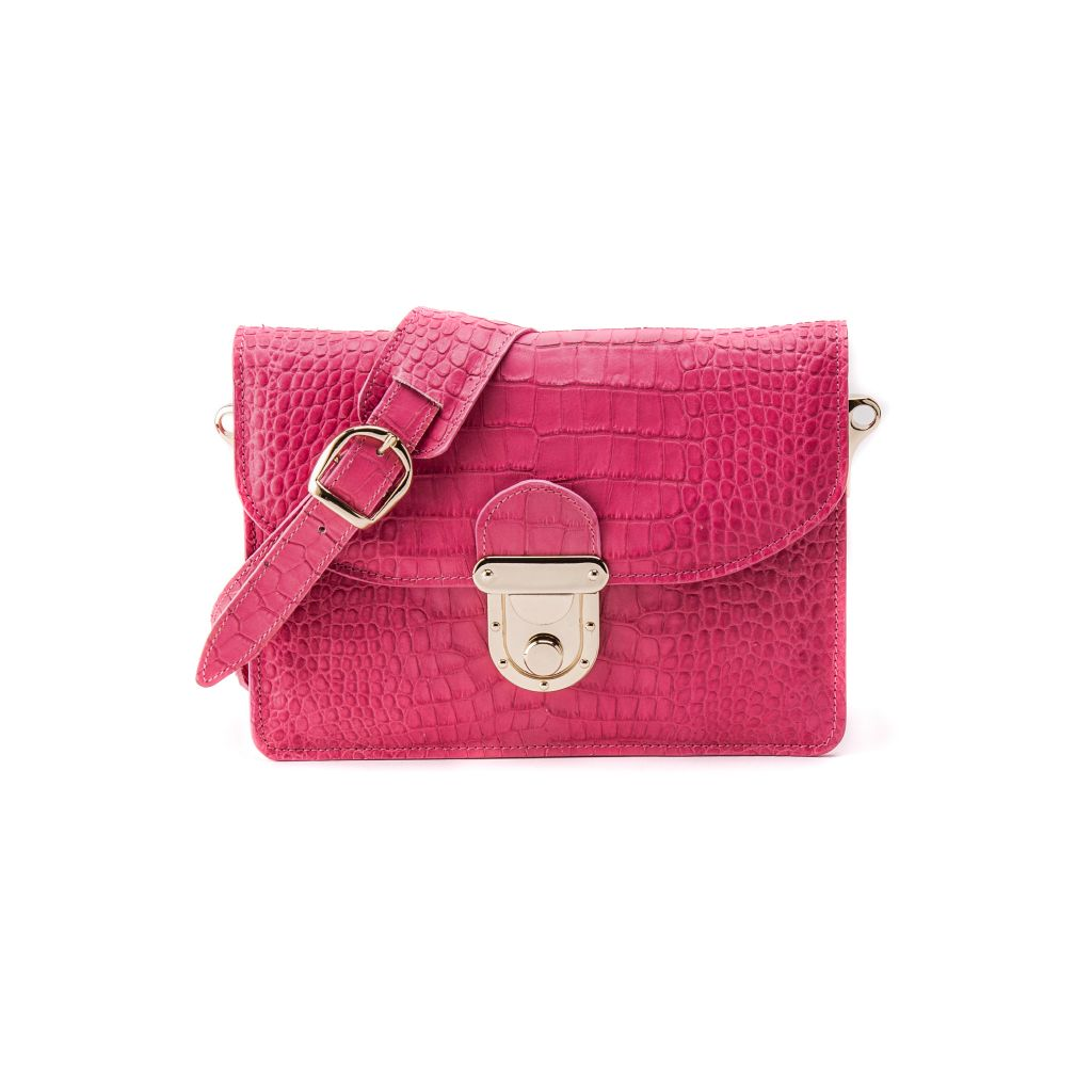 resized_Angelina Cross Body Bag in Rose Pink Crocodile Print_AED 4000