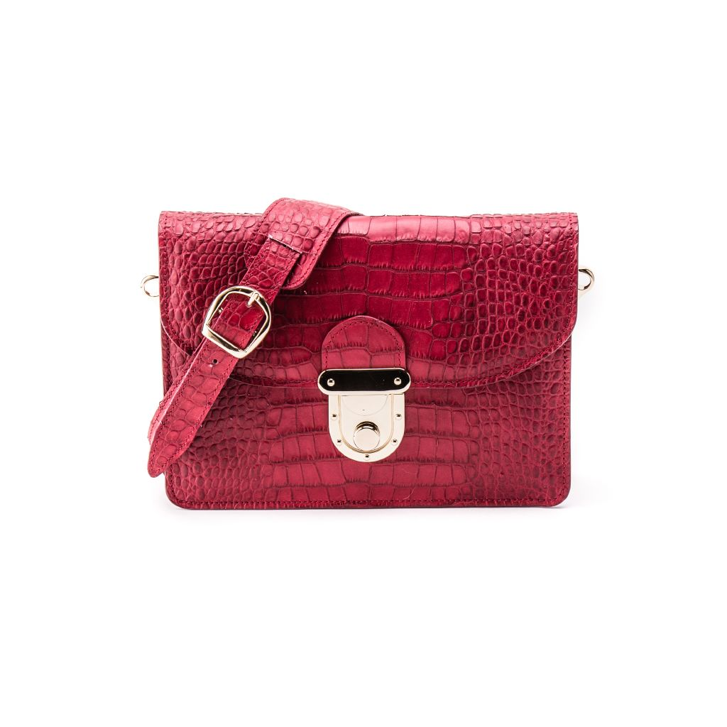 resized_Angelina Cross Body Bag in Sangria Red Crocodile Print_AED 4000