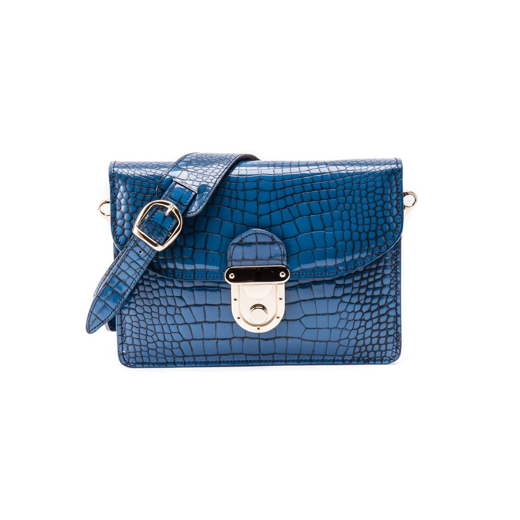 resized_Angelina Cross Body Bag in Sapphire Blue Crocodile Print_AED 4000