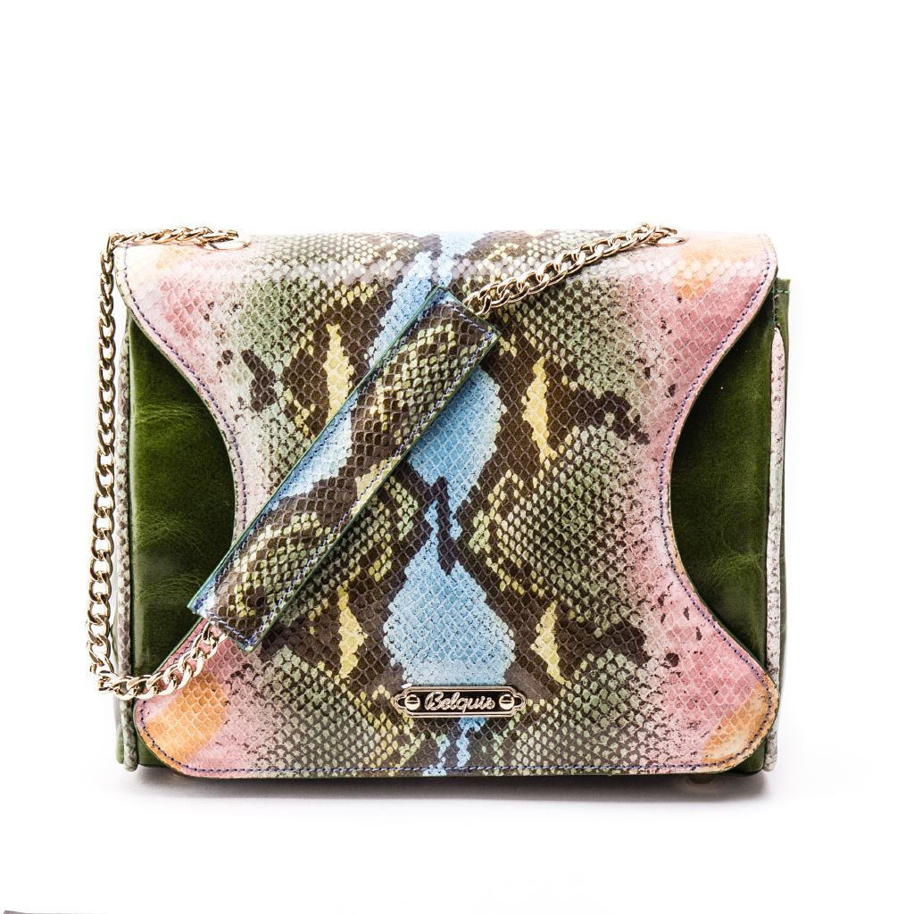 resized_Gabriella Flapbag in Multicolor Green Python Print_AED 4500