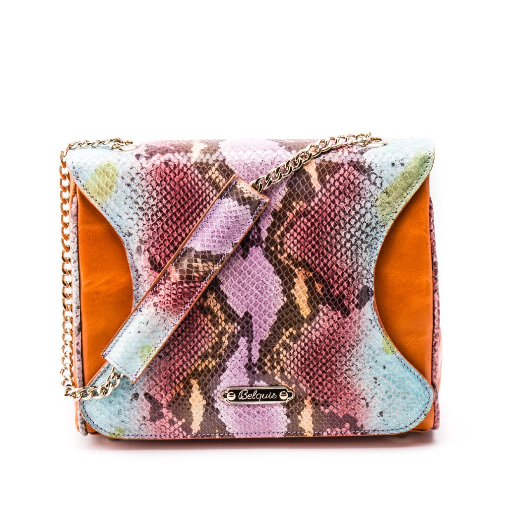 resized_Gabriella Flapbag in Multicolor Orange Python Print_AED 4500