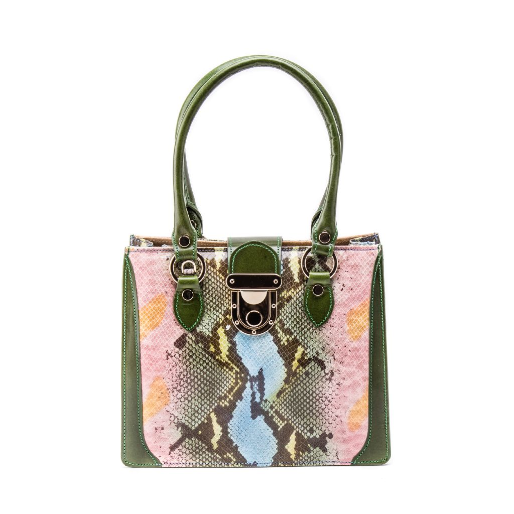 resized_Gemma Tote in Multicolor Green Python Print_AED 4200