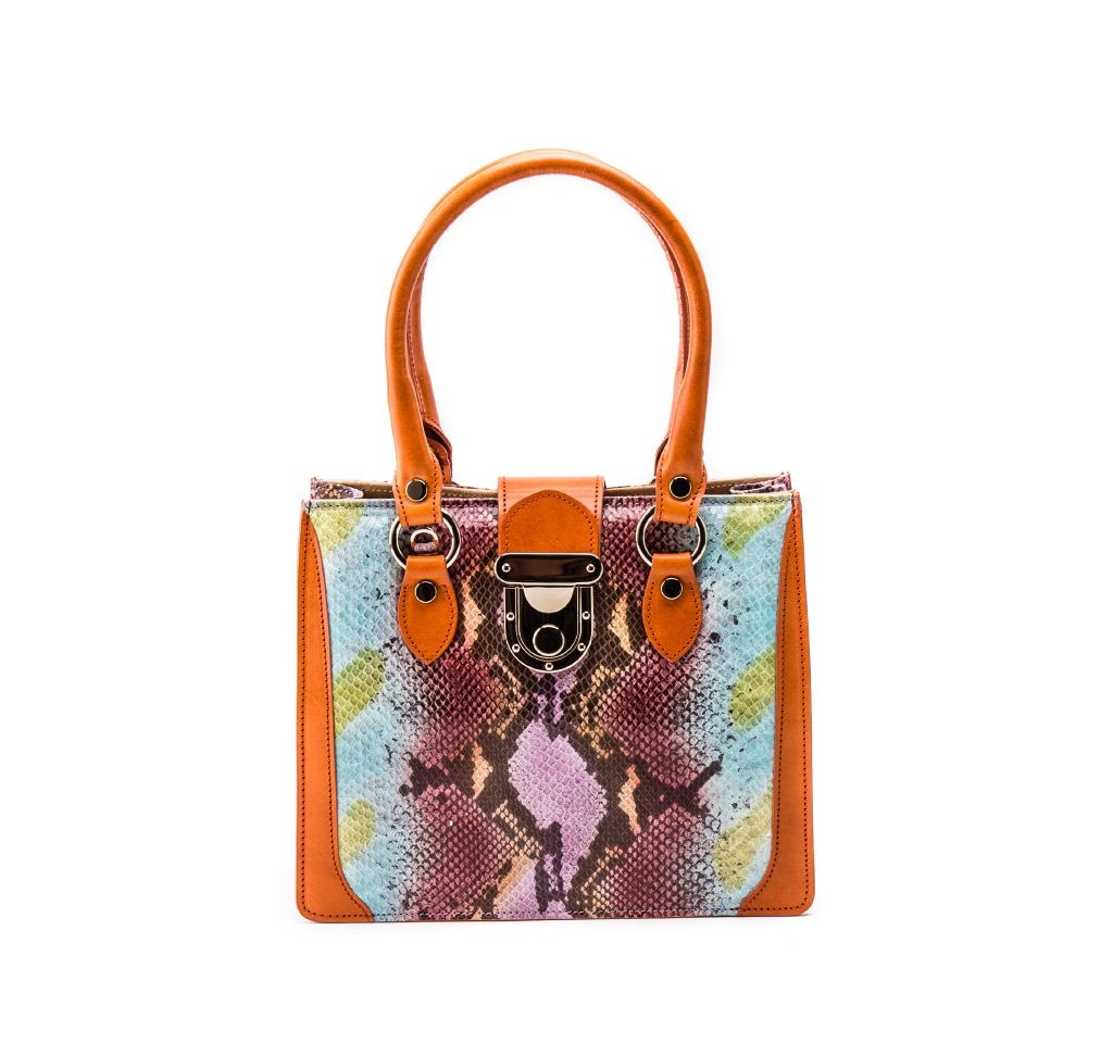 resized_Gemma Tote in Multicolor Orange Python Print_AED 4200