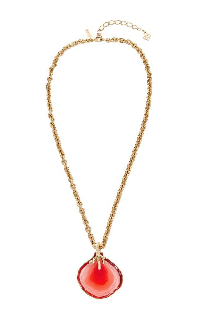resized_OSCAR DE LA RENTA Agate Resin Pendant Necklace $590