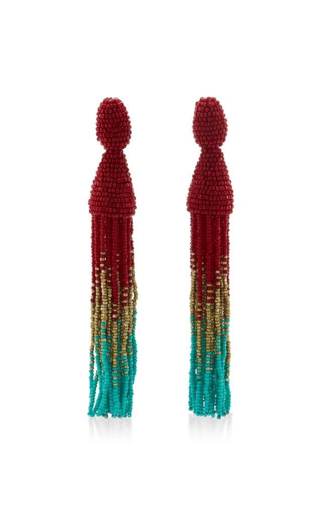 resized_OSCAR DE LA RENTA Ombre Long Beaded Clip Tassel Earring $395