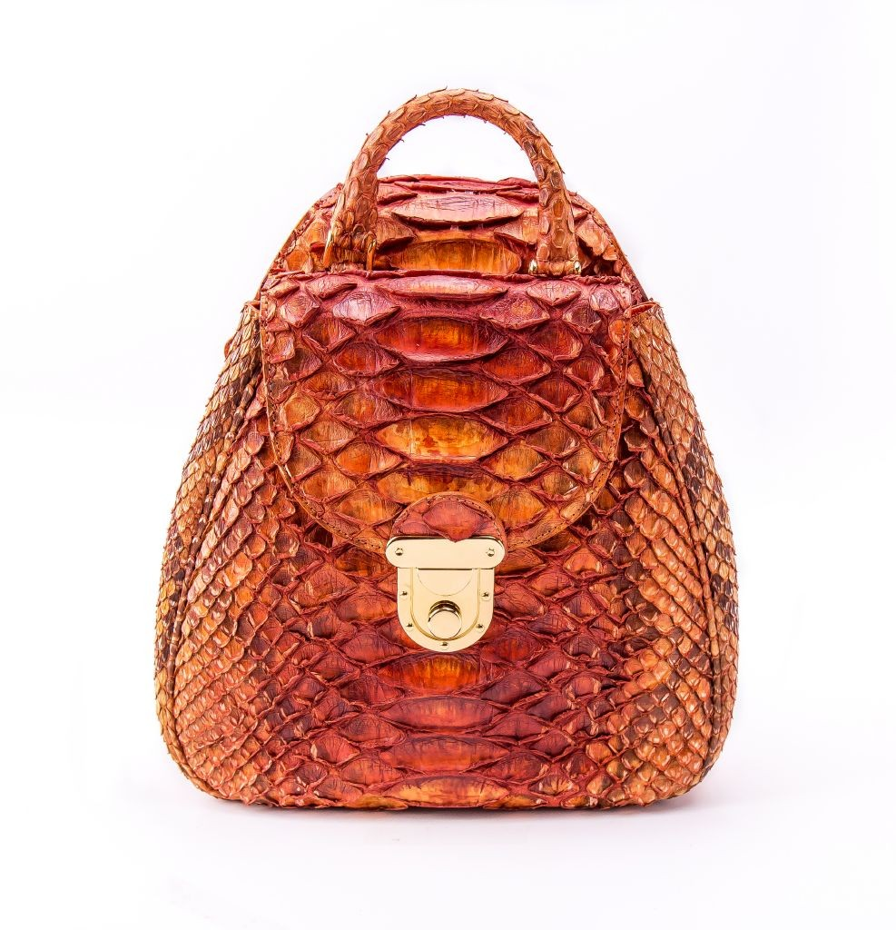 resized_Perla backpack in Fiery Orange Pythin Print_AED 10000