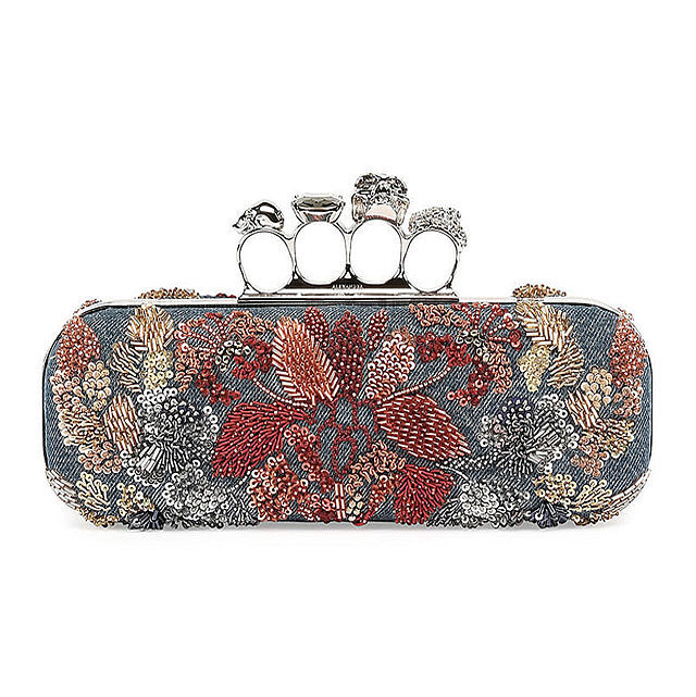 Alexander-McQueen-Knuckle-Duster-wFloral-Embroidery-Denim-Box-Clutch