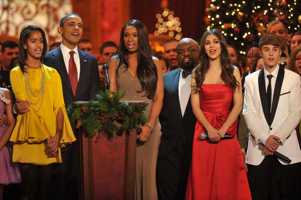 Barack Obama, Jennifer Hudson, Victoria Justice, and Justin Bieber