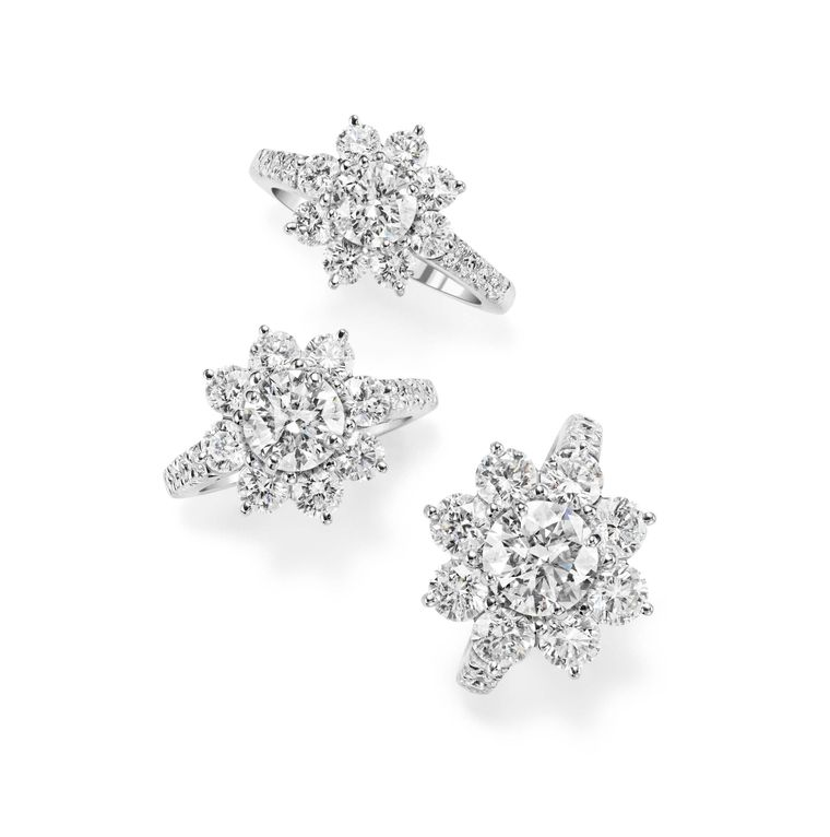 Floral engagement rings_Harry Winston_Sunflower rings