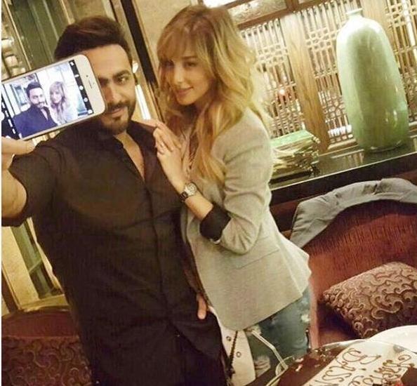 تامر حسني وزوجته بسمه