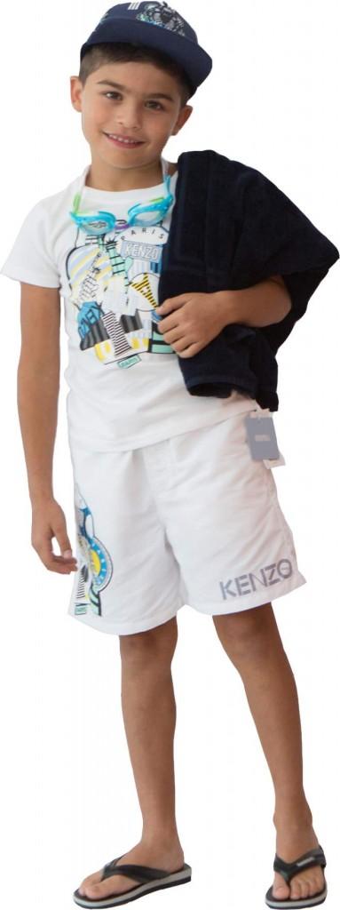 Kenzo ensemble - Havaianas flip flops - La Perla beach towel