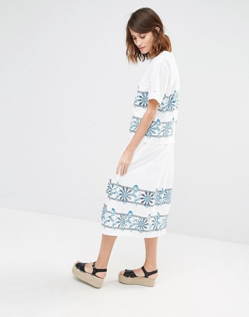 Warehouse-Embroidered-Cutowrk-T-Shirt-73-Midi-Skirt-105
