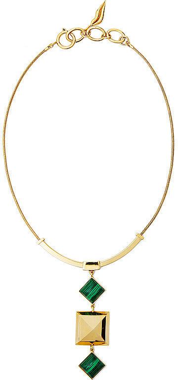 Diane-von-Fürstenberg-Malachite-Stone-amp-Pyramid-Pendant-Necklace
