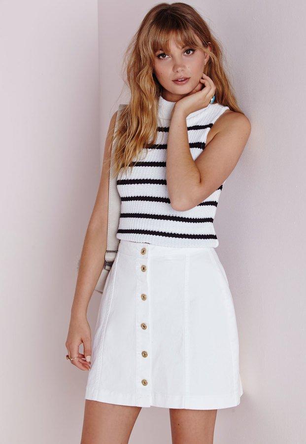 Missguided-Button-Through-Denim-Skirt-White-40