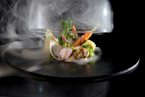 sha-smoked-mint-grilled-baby-vegetables-over-a-cream-of-mushrooms-walnuts-and-mirin-reduction