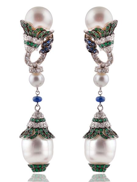 emerald_diamond_unique_earring