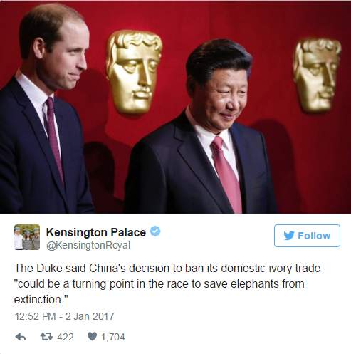 الأمير وليام يرحب بقرار الصين بحظر تجارة العاج