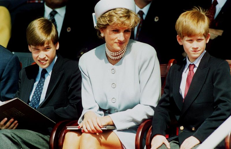 الاميرة ديانا مع ولديها وليام وهاري