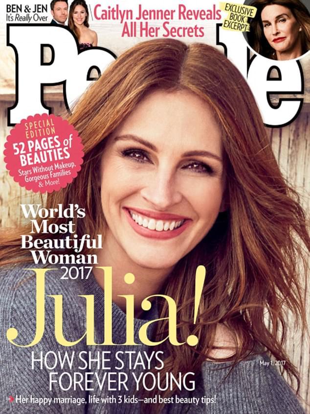 """جوليا روبرتس للمرة الخامسة على غلاف مجلة """"بيبول"""" لتفوز بلقب المرأة الأجمل في العالم"""