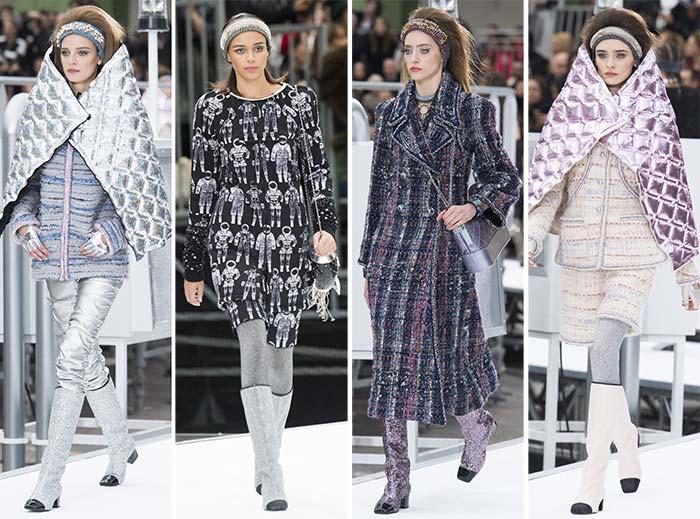 مجموعة شانيل لأزياء براقة محاكة من أقمشة عاكسة باللون الفضي