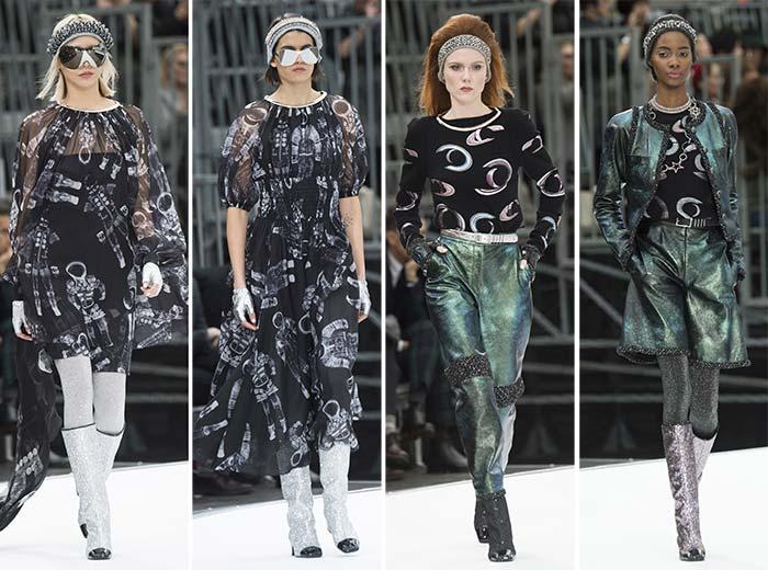 مجموعة شانيل لفساتين شيفون باللون الأسود مع جزمات لامعة من الترتر
