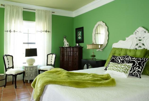 احدث ديكورات غرف نوم انيقة ومميزة باللون الاخضر   مشاهير