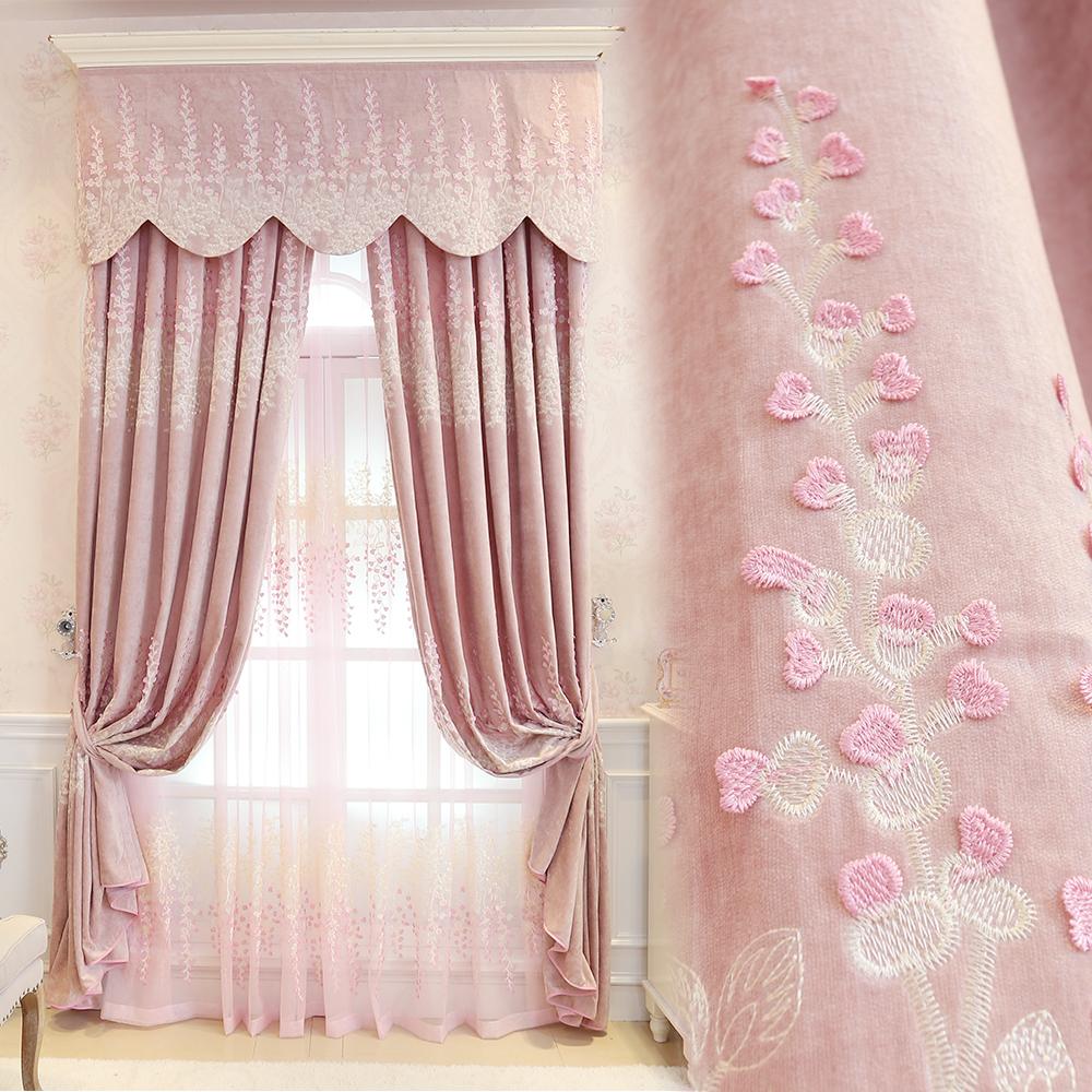 Princess-font-b-pink-b-font-embroidery-font-b-curtains-b-font-Jacquad-tulle-font-b