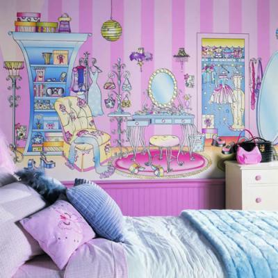 افكار-ديكورات-غرف-نوم-بنات-من-ورق-الحائط- (3)