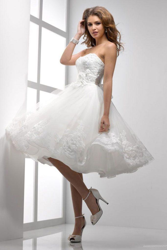 فستان-ابيض-قصير-للزفاف