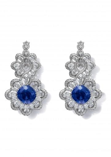DIAMOND AND BURMESE SAPPHIRE EARRINGS