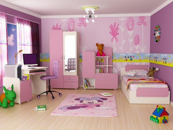 غرف نوم اطفال باللون الوردي   مشاهير