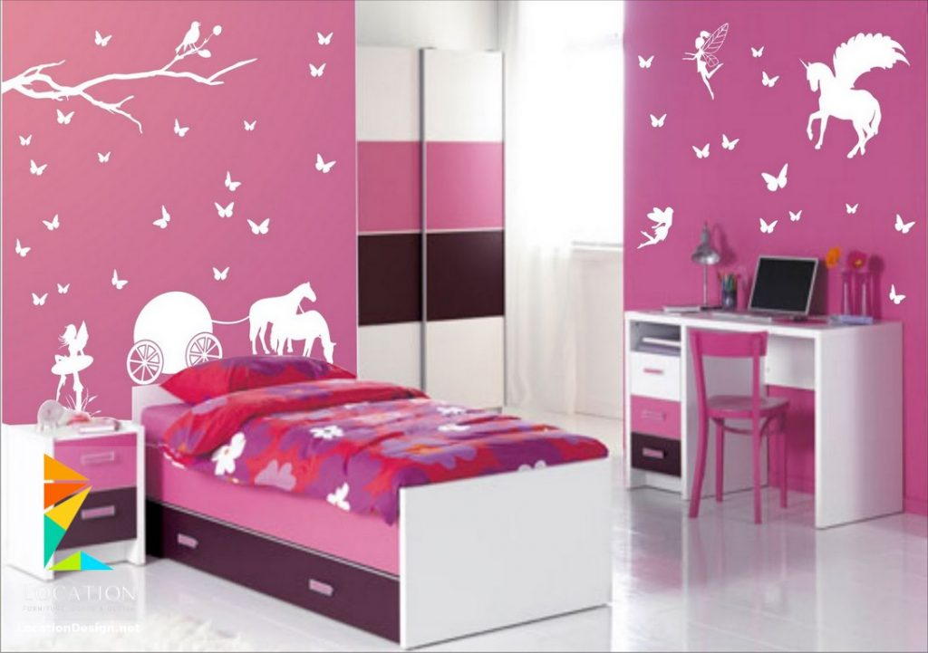 غرف-نوم-اطفال-باللون-الوردي- (13)