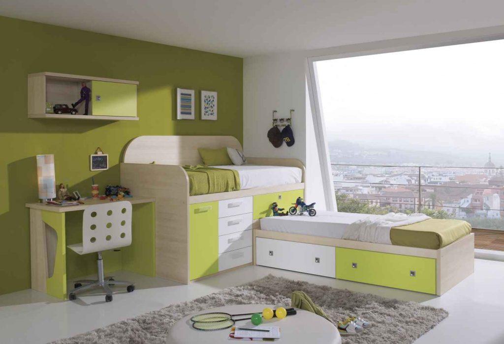 غرف-اطفال-خضراء-بسريرين