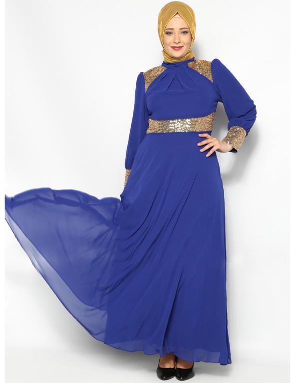 فستان-ازرق-بحزام-براق