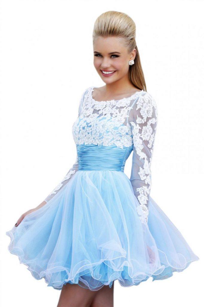 فستان-ازرق-منقوش-بأكمام-طويلة