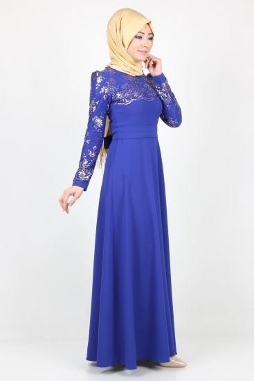 فستان-ازرق-منقوش