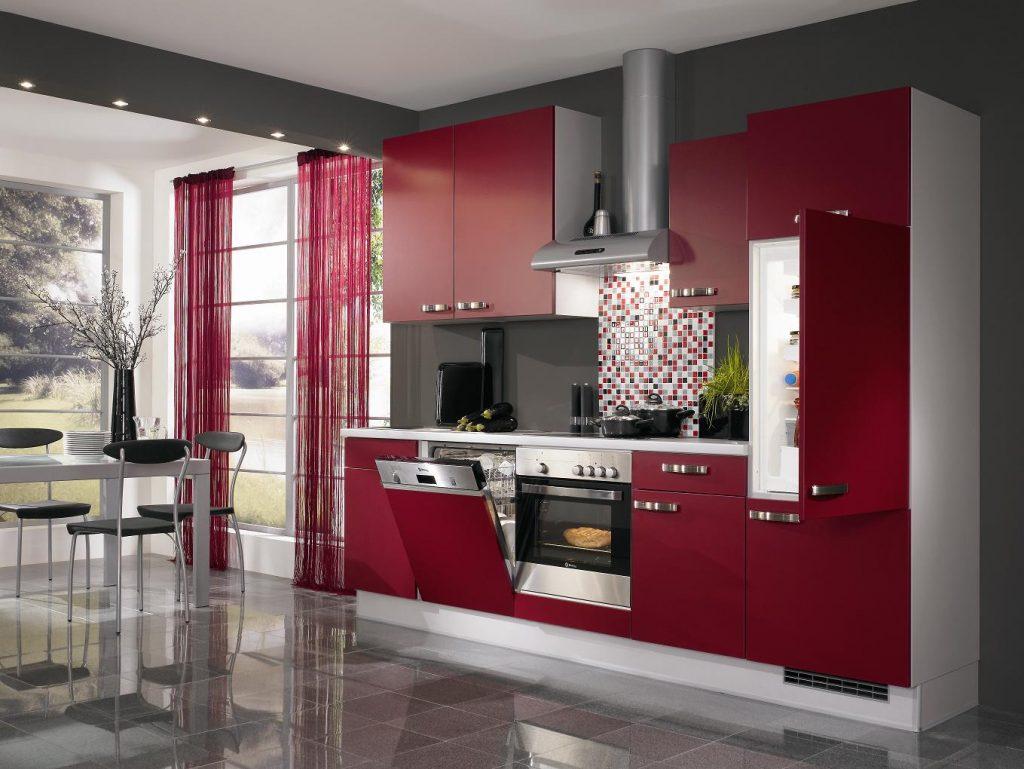 مطبخ-باللون-الاحمر-والاسود-العصري