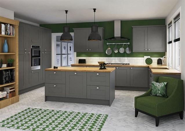 مطبخ-رمادي-بلمسات-خضراء