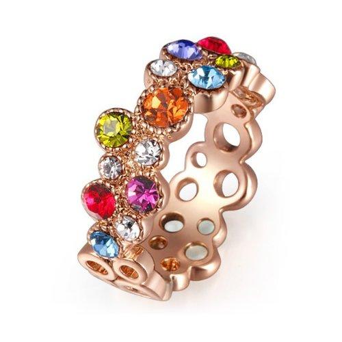 Rose-Gold-Finish-Multicolor-Swarovski-Crystal-Cocktail-Ring