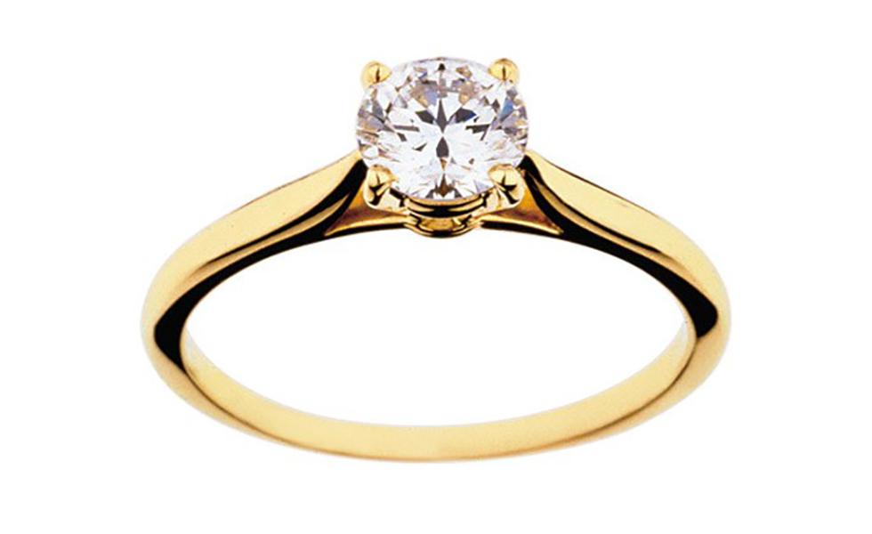خاتم مرصع بالألماس مع الذهب الأصفر من لازوردي
