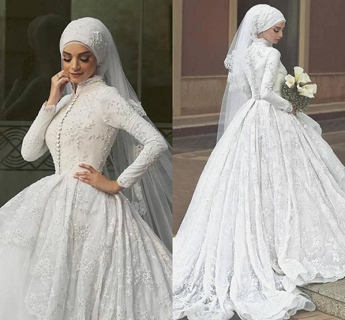 فستان-منفوش-وكم-طويل