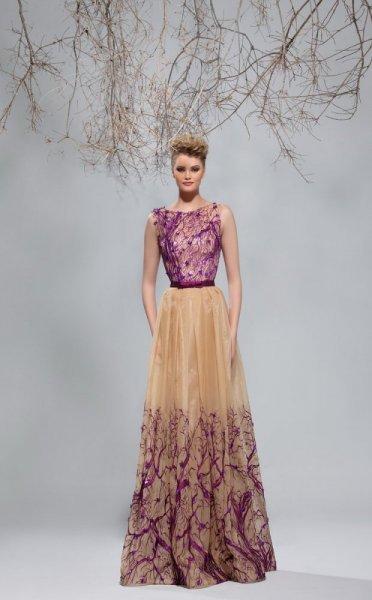 فستان-موف-وذهبي