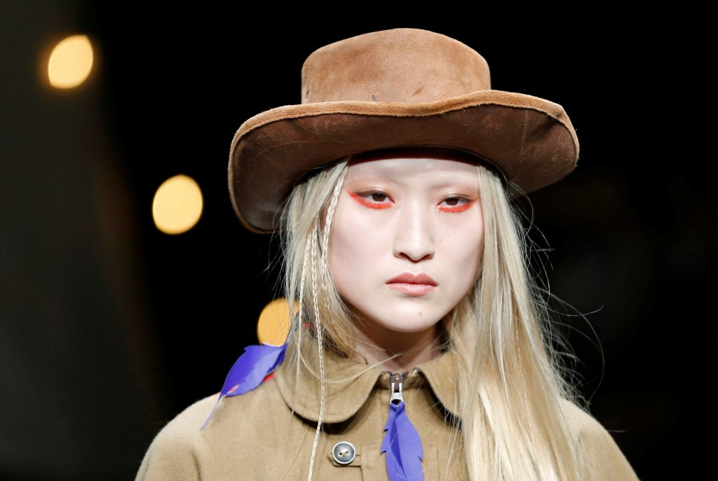 A model presents a creation by designers Fujita, Miyazaki and Hongo from their Autumn/Winter 2018 collection for their brand