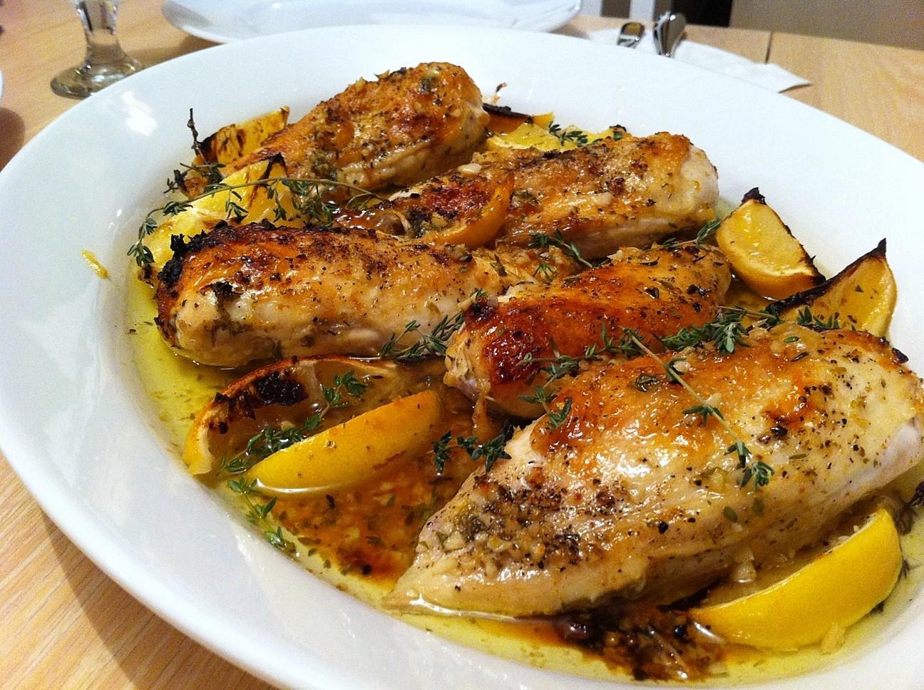 الدجاج بالليمون والزعتر