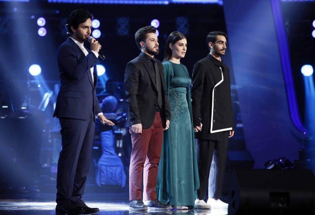 MBC1 & MBC MASR The Voice S4- Live 1- Elissa's team- Hassan Al Attar, Jiana Ghantous and Ahmad Al Hallak