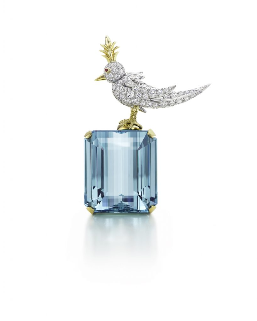 Bird on a Rock brooch with an emerald-cut aquamarine set in 18 karat yellow gold and platinum by Jean Schlumberger for Tiffany & Co.