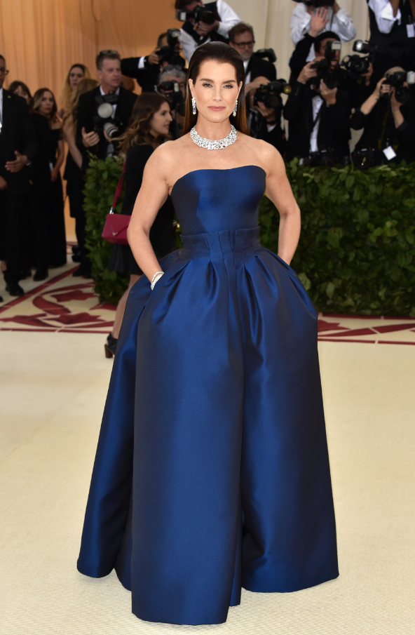 Brooke Shields wore high jewelry pieces from the Tiffany Paper Flowers™ collection to the 2018 Met Gala.