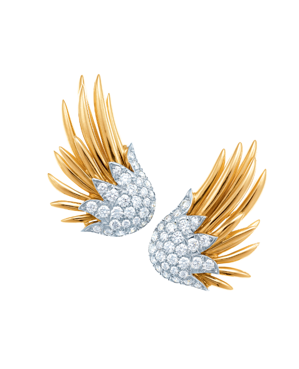 Flames diamond earrings set in 18k gold and platinum by Jean Schlumberger for Tiffany & Co.