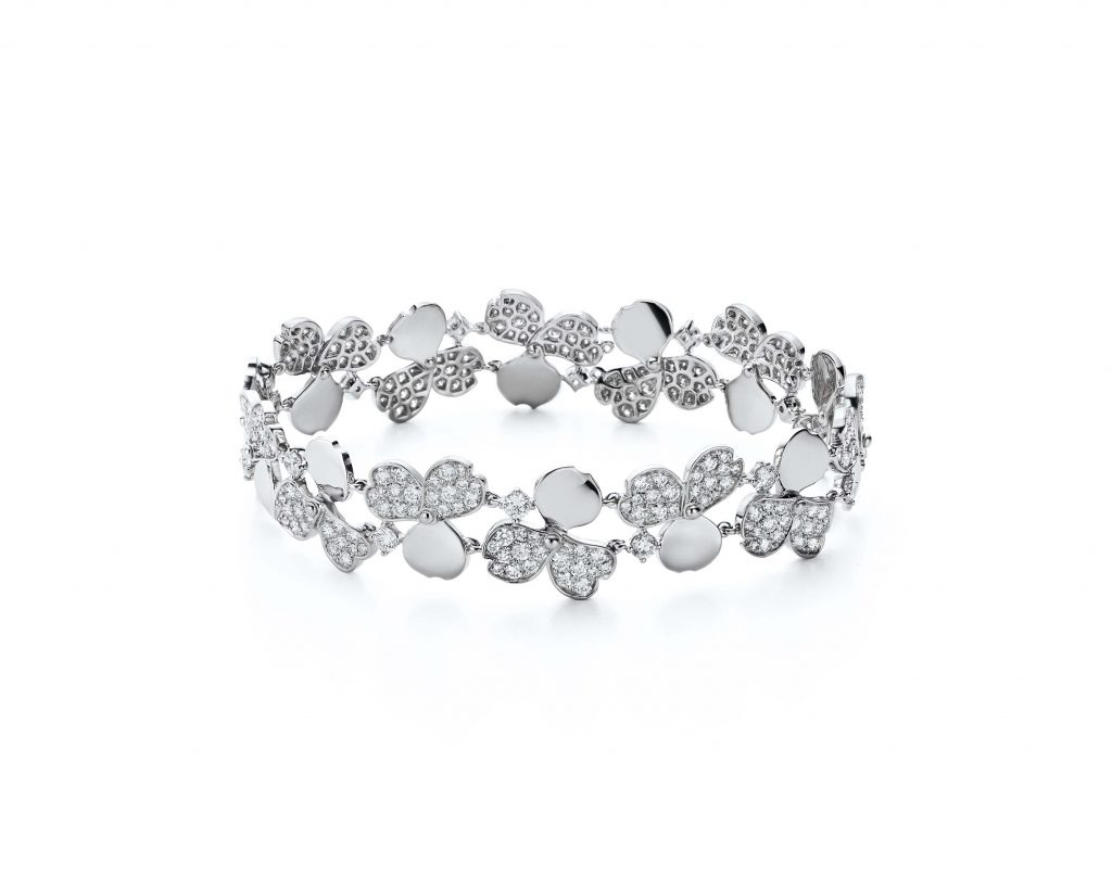 Tiffany Paper Flowers™ bracelet in platinum with diamonds.
